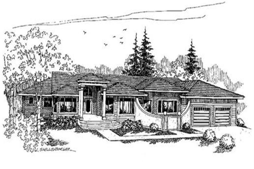 3-Bedroom, 3609 Sq Ft Ranch Home Plan - 145-1545 - Main Exterior