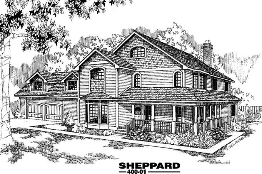 5-Bedroom, 3180 Sq Ft Country Home Plan - 145-1553 - Main Exterior