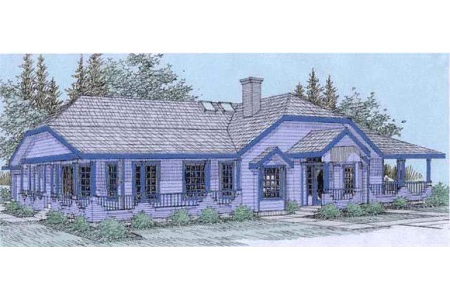 Front elevation of Country home (ThePlanCollection: House Plan #145-1554)