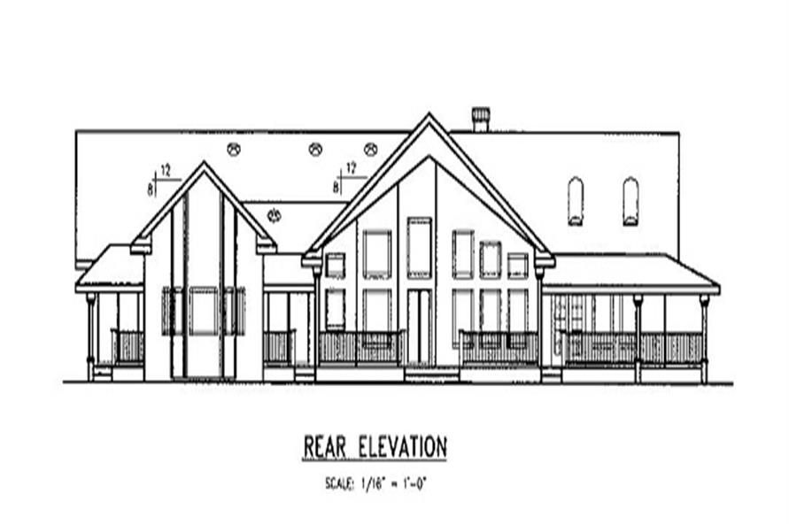 Home Plan Rear Elevation of this 3-Bedroom,2778 Sq Ft Plan -145-1555