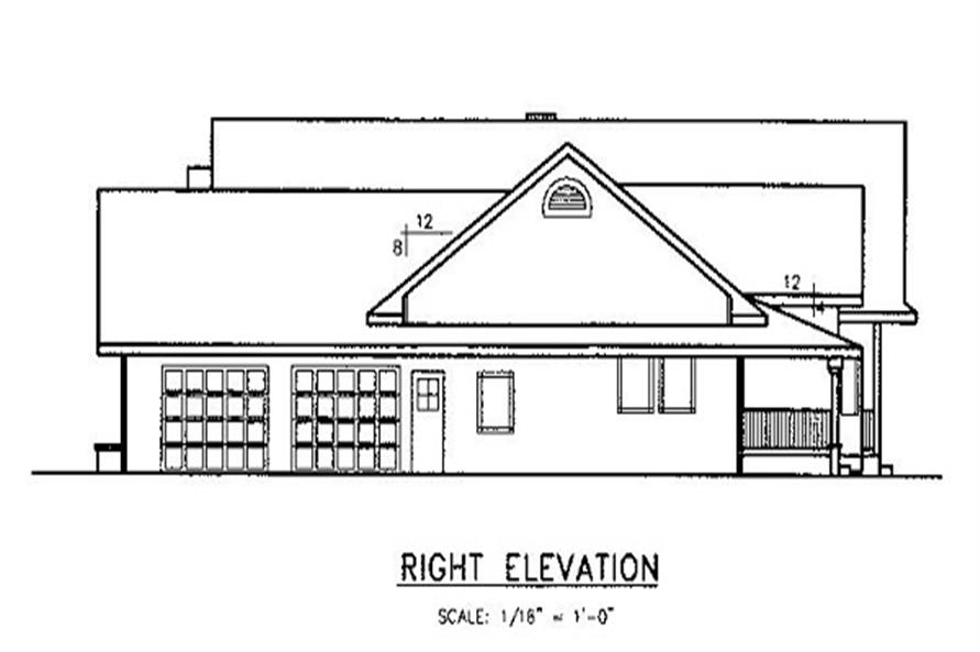 Home Plan Right Elevation of this 3-Bedroom,2778 Sq Ft Plan -145-1555