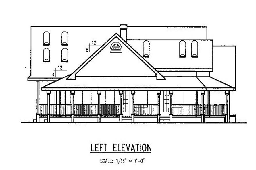 Home Plan Left Elevation of this 3-Bedroom,2778 Sq Ft Plan -145-1555