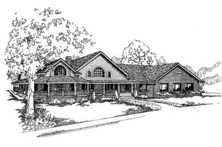 3-Bedroom, 2778 Sq Ft Country Home Plan - 145-1555 - Main Exterior