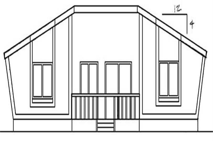 Home Plan Rear Elevation of this 3-Bedroom,1116 Sq Ft Plan -145-1564