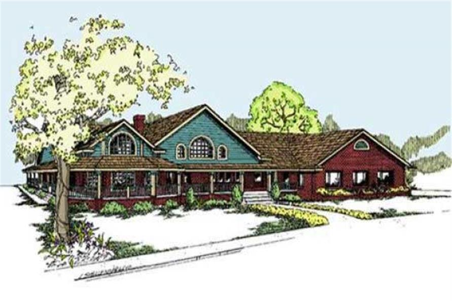 3-Bedroom, 2778 Sq Ft Country Home Plan - 145-1567 - Main Exterior