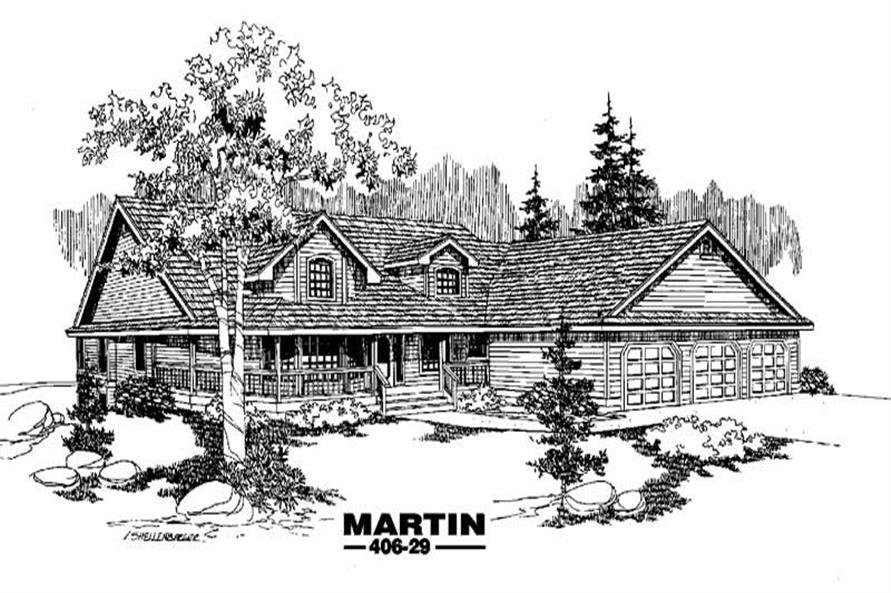 4-Bedroom, 2370 Sq Ft Country Home Plan - 145-1580 - Main Exterior