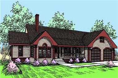 2-Bedroom, 2874 Sq Ft Ranch House Plan - 145-1581 - Front Exterior