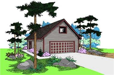 0-Bedroom, 545 Sq Ft Garage House Plan - 145-1582 - Front Exterior