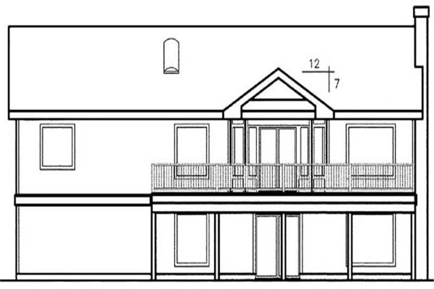 Home Plan Rear Elevation of this 3-Bedroom,1777 Sq Ft Plan -145-1593