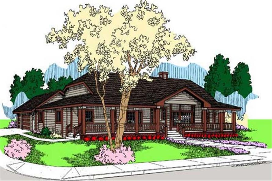 3-Bedroom, 3128 Sq Ft Farmhouse House Plan - 145-1597 - Front Exterior
