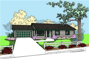 3-Bedroom, 1101 Sq Ft Ranch Home Plan - 145-1606 - Main Exterior
