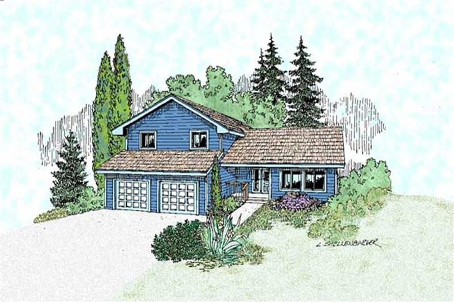 3-Bedroom, 1744 Sq Ft Contemporary Home Plan - 145-1614 - Main Exterior