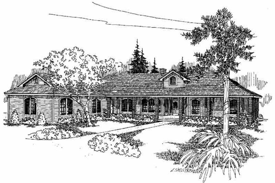 4-Bedroom, 3600 Sq Ft Ranch House Plan - 145-1615 - Front Exterior