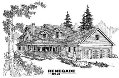 3-Bedroom, 2789 Sq Ft Home Plan - 145-1616 - Main Exterior