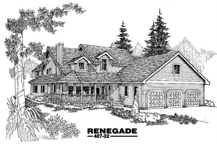 3-Bedroom, 2789 Sq Ft Home Plan - 145-1616 - Main Exterior