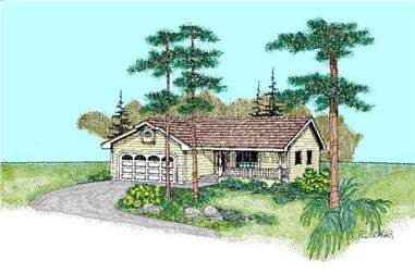 3-Bedroom, 1242 Sq Ft Country Home Plan - 145-1634 - Main Exterior