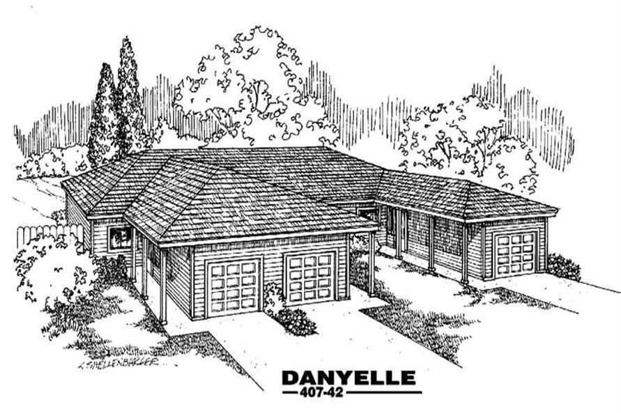 2-Bedroom, 922 Sq Ft Multi-Unit House Plan - 145-1637 - Front Exterior
