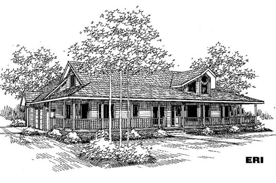 3-Bedroom, 2592 Sq Ft Country House Plan - 145-1640 - Front Exterior
