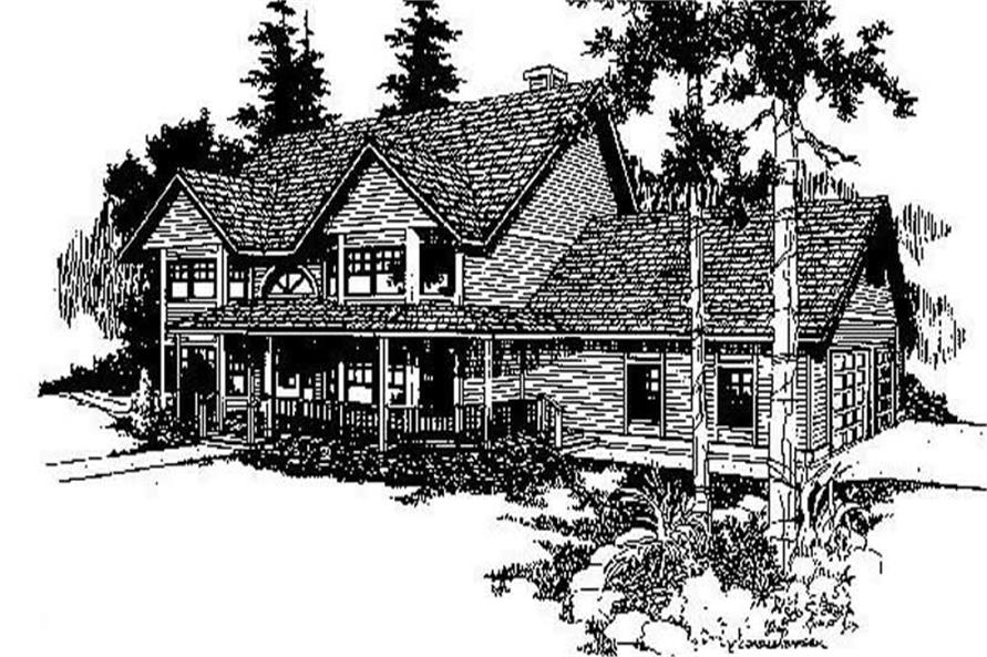 3-Bedroom, 3229 Sq Ft Country House Plan - 145-1649 - Front Exterior
