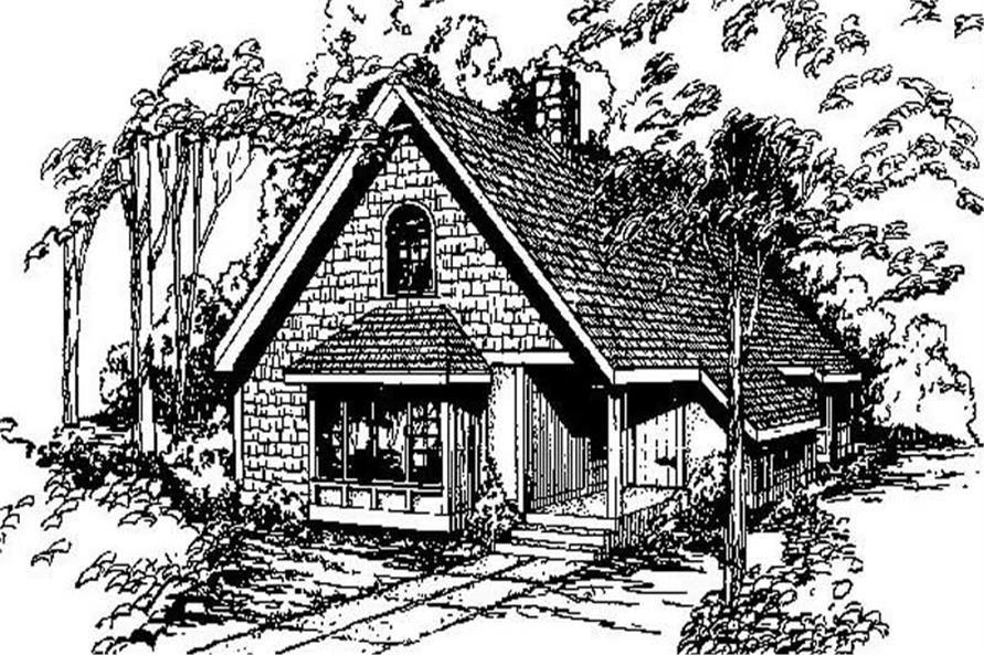 3-Bedroom, 1691 Sq Ft Log Cabin House Plan - 145-1651 - Front Exterior