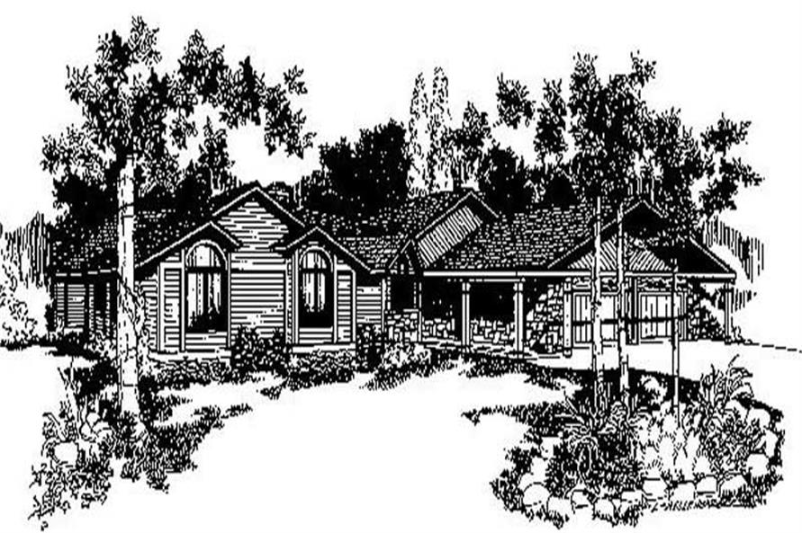 3-Bedroom, 2716 Sq Ft Ranch House Plan - 145-1653 - Front Exterior