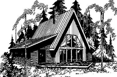 3-Bedroom, 2091 Sq Ft Log Cabin House Plan - 145-1662 - Front Exterior