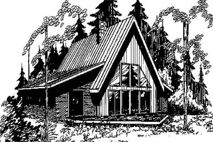 3-Bedroom, 2091 Sq Ft Log Cabin House Plan - 145-1662 - Front Exterior