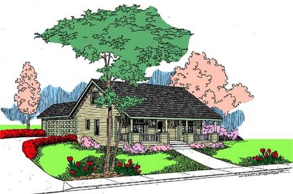 Front elevation of Country home (ThePlanCollection: House Plan #145-1663)
