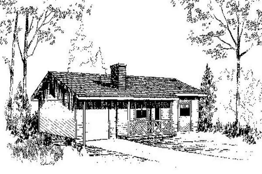 2-Bedroom, 816 Sq Ft Ranch Home Plan - 145-1665 - Main Exterior