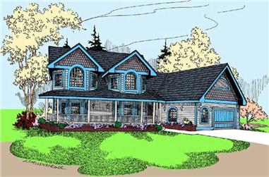 3-Bedroom, 2946 Sq Ft Country Home Plan - 145-1673 - Main Exterior