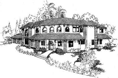 6-Bedroom, 4256 Sq Ft Southwest House Plan - 145-1679 - Front Exterior
