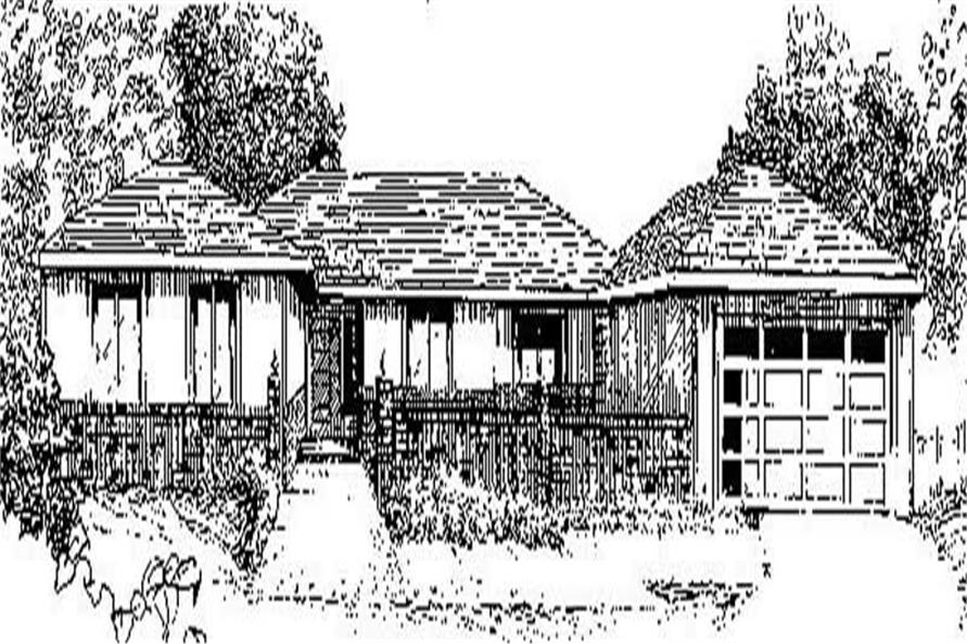 Front elevation of Ranch home (ThePlanCollection: House Plan #145-1689)