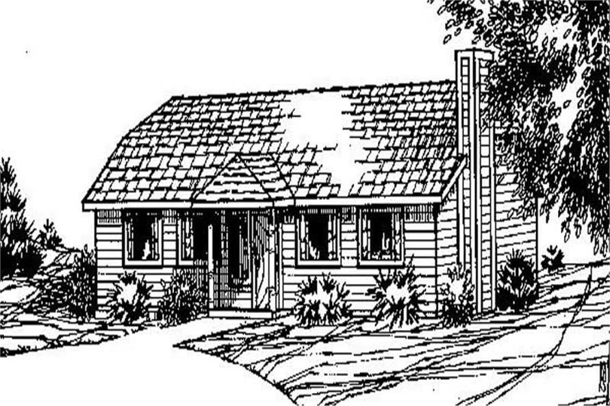 3-Bedroom, 1040 Sq Ft Ranch House Plan - 145-1697 - Front Exterior