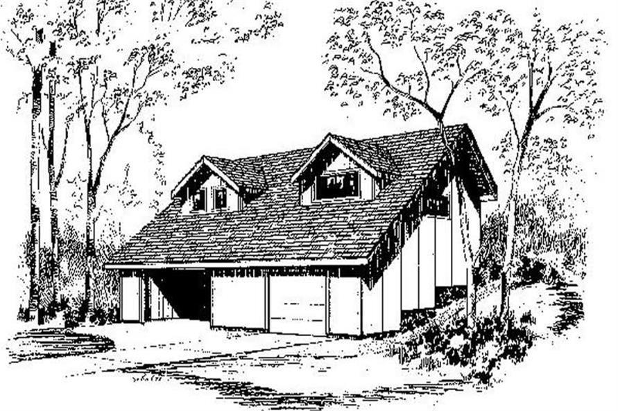 2-Bedroom, 840 Sq Ft Garage Home Plan - 145-1709 - Main Exterior