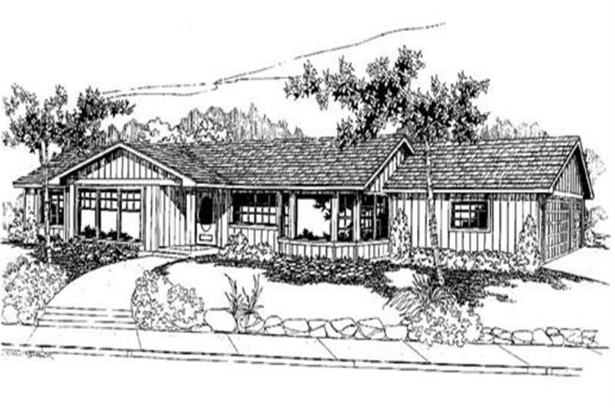 2-Bedroom, 1947 Sq Ft Log Cabin House Plan - 145-1722 - Front Exterior