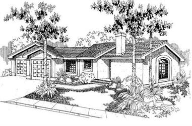 3-Bedroom, 1520 Sq Ft Southwest House Plan - 145-1724 - Front Exterior