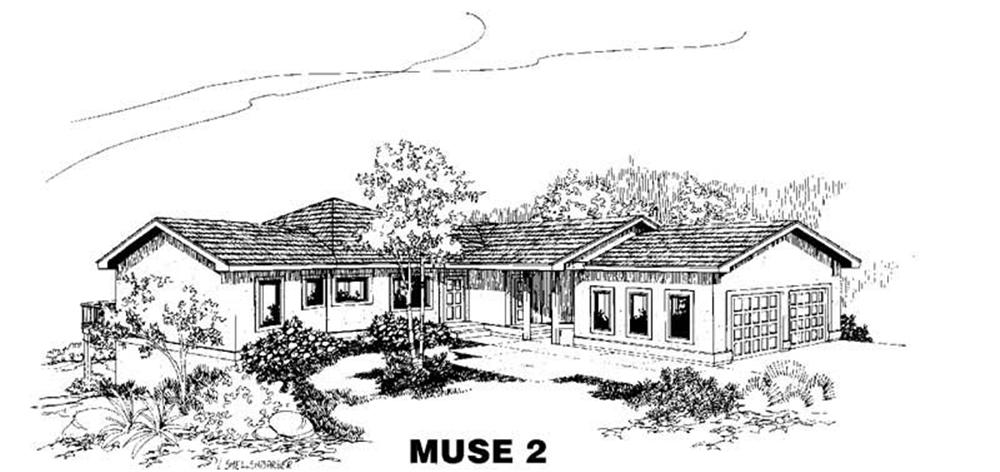 Ranch home (ThePlanCollection: Plan #145-1734)