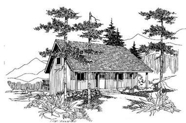 3-Bedroom, 1584 Sq Ft Log Cabin Home Plan - 145-1735 - Main Exterior
