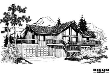 2-Bedroom, 1450 Sq Ft Contemporary House Plan - 145-1736 - Front Exterior