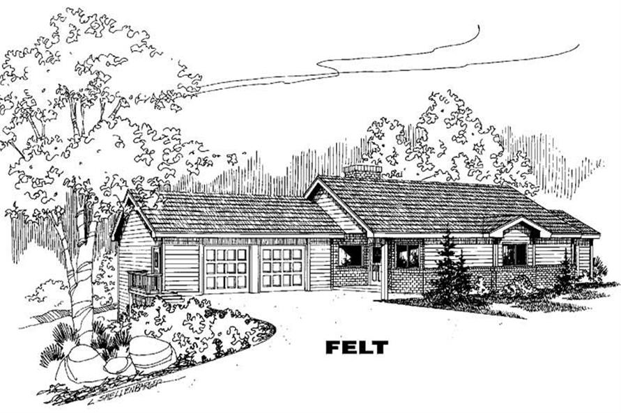 4-Bedroom, 1506 Sq Ft Ranch Home Plan - 145-1743 - Main Exterior