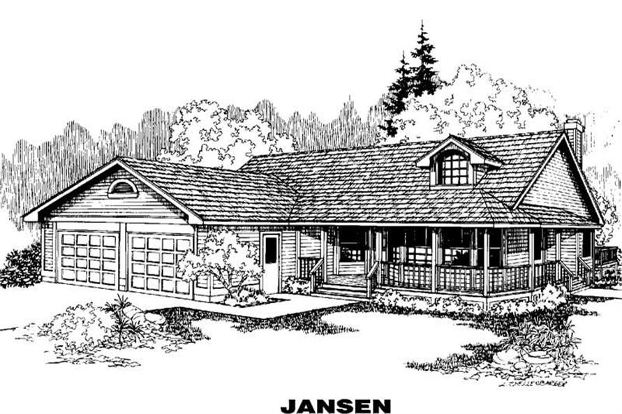 3-Bedroom, 1370 Sq Ft Country House Plan - 145-1750 - Front Exterior