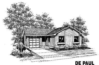 3-Bedroom, 1202 Sq Ft Ranch House Plan - 145-1752 - Front Exterior