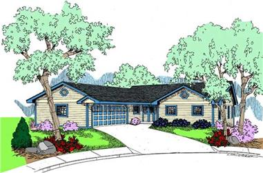 3-Bedroom, 1510 Sq Ft Contemporary Home Plan - 145-1785 - Main Exterior