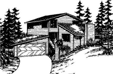 3-Bedroom, 1738 Sq Ft Contemporary House Plan - 145-1797 - Front Exterior