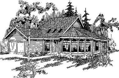 3-Bedroom, 2876 Sq Ft Log Cabin House Plan - 145-1802 - Front Exterior
