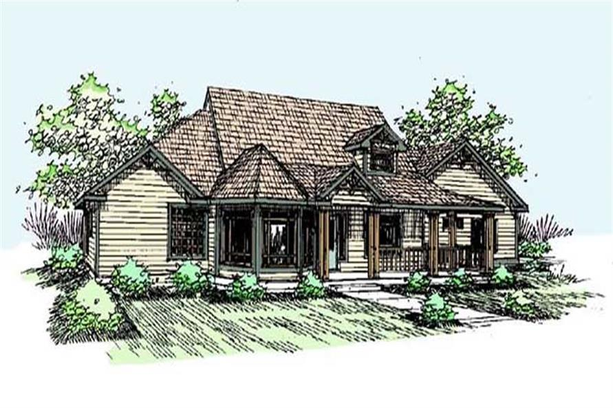 3-Bedroom, 2489 Sq Ft Country House Plan - 145-1821 - Front Exterior