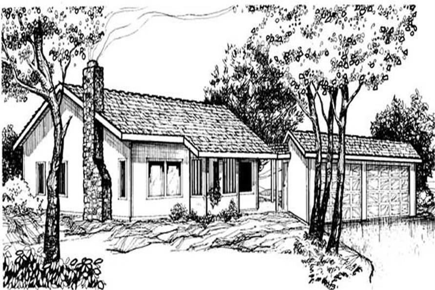 3-Bedroom, 1080 Sq Ft Country House Plan - 145-1836 - Front Exterior