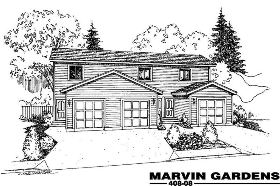 2-Bedroom, 1104 Sq Ft Multi-Unit Home Plan - 145-1841 - Main Exterior
