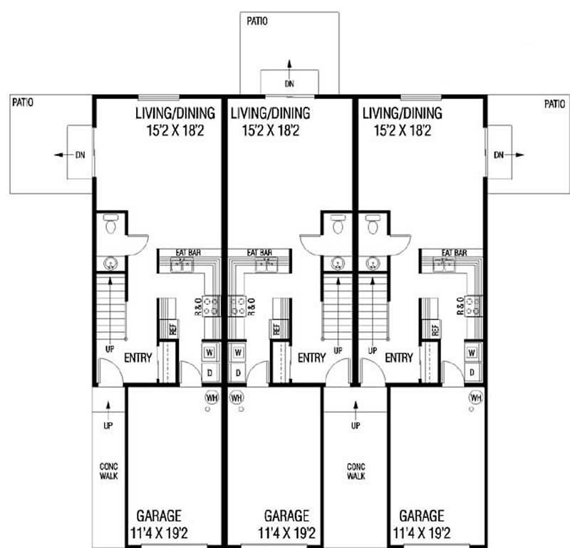 4 unit townhouse plans home design for Townhouse design plans