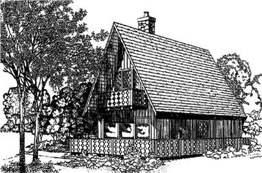 3-Bedroom, 1380 Sq Ft Log Cabin Home Plan - 145-1849 - Main Exterior